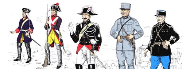 Les uniformes de la Maréchaussée et de la Gendarmerie